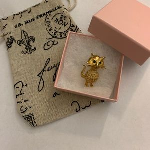 De Nicola stamp Vintage rhinestone cat brooch